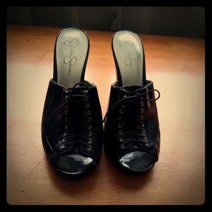 Jessica Simpson black corset heels